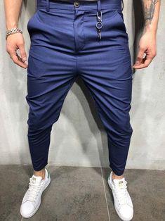 Men Casual Short Roll Up Keychain Trousers Pants - Blue 3820 Formal Men Outfit, Casual Wear For Men, Casual Suit, Style Streetwear, Indian Men Fashion, Mens Fashion Wear, Blazer Bleu, Drop Crotch Joggers, Men's T Shirts
