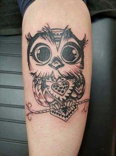 My new cute owl tattoo on calf :)