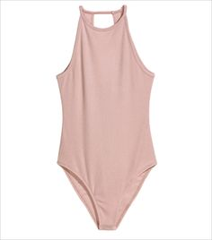 Sleeveless bodysuit in soft jersey with narrow shoulder straps. Narrow cut at top, low-cut opening at back, and snap fasteners at gusset. Outfits For Teens, Casual Outfits, What Is Trending Now, What's Trending, Look Body, Pullover Shirt, Pink Bodysuit, Cute Bathing Suits, One Piece Bikini