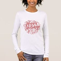 Happy Holidays Red Glitter Modern Script Lettering Long Sleeve T-Shirt - classy gifts custom diy personalize