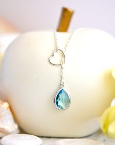 Silver Heart Infinity Lariat Necklace with Aquamarine Jewel by RusticGem.