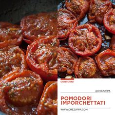 Pomodori imporchettati, arrosto in padella • Chezuppa! Cast Iron Recipes, Antipasto, Fett, Get In Shape, Biscotti, Chicken Wings, Aglio, Vegetables, Ethnic Recipes