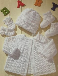baby knitting pattern vintage matinee coat bonnet booties mittens in double knit sizes 14 16 18 20 inch chest