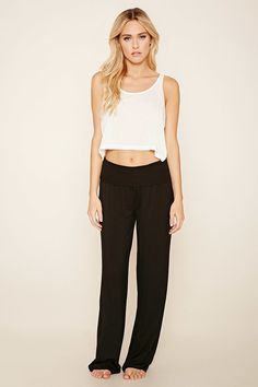 A pair of knit PJ pants with a wide-leg fit and a ribbed fold-over waist.