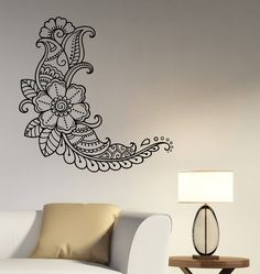 Henna Paisley Flower Wall Decal Mehndi Floral Pattern Vinyl Sticker Indian Ornament Art Hindu Decorations for Home Room Ethnic Decor mh3 by DecalworldArt on Etsy https://www.etsy.com/listing/528586195/henna-paisley-flower-wall-decal-mehndi