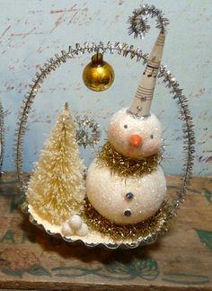 Vintage Style Snowman in Tin Candy Mold Christmas Folk Art on etsy
