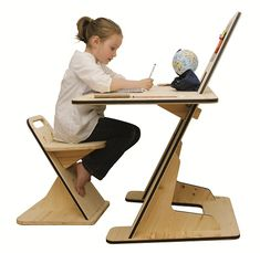 The A to Z desk. Magnetic chalkboard and desk in one. Fits toddlers to adults. Designed by Guillaume Bouvet.