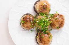 Stuffed shittake mushrooms are a great appetizer! Add this incredibly flavorful filling made with pork, scallions, and ginger, making it a good pairing for the pungent mushrooms from @Marc Matsumoto.