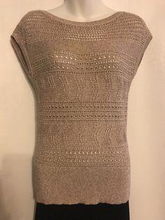 White House Black Market Sz S Sweater Beige W/Gold Metallic Thread Cotton Blend #WhiteHouseBlackMarket #VestSleeveless #Work