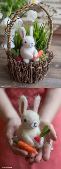 Felted Easter bunny basket