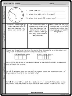 FREE math practice worksheet. Reviews a variety of skills and includes a multi part problem for constructed response practice!
