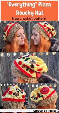 Everything Pizza / Extra Toppings Slouchy Hat - FREE Crochet Pattern! - Best of Crafty Kitty Crochet! Crochet Hats For Boys, Crochet Baby Hats, Crochet Beanie, Crochet Clothes, Free Crochet, Irish Crochet, Crochet Owls, Crochet Animals, Ravelry Crochet