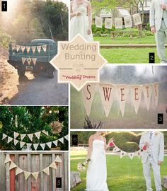 wedding bunting signs just married love thank you