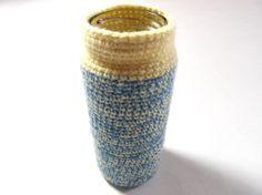 Glass Jar - Blue / Yellow Crochet by Golden Heart Crafts Golden Heart, Heart Crafts, Glass Jars, Bobs, Blue Yellow, Crochet, Tableware, Glass Pitchers, Dinnerware