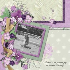 My layout was created using a template by Scrapbookcrazy Creations by Robyn and the lovely Mega Collaboration kit by the designers at godigitalScrapbooking called Lilies of the Field. This beautiful kit with its shades of lilac is perfect for many genres of scrapbooking pages such as, Celebrations, Weddings and Family times. It contains,140elements,61 papers including cardstock and gradient,12x12 template,word art ,stamps, clusters and quick page set . It is free with a $15 purchase.