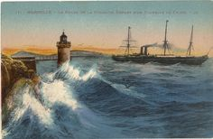 Steamship leaving Marseille harbour for China by DiversCites, $3.50 Welcome, New member to the Pacific Postcards Team (PPT)  #postcards #ephemera #paper #vintage #antique #shopping  #etsy #etsyteam #VintagePostcards #VintageImagery
