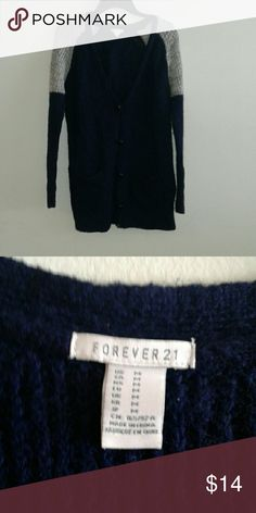 Forever 21 button up cardigan Navy blue and gray marled knit cardigan  Only worn a  Couple of times it is in excellent condition it can fit like a L or Xl  but its says M Forever 21 Sweaters Cardigans