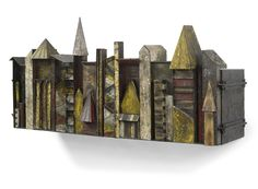 """Paul Evans - """"Sculpture Front"""" hanging cabinet, welded and patinated steel, ca. 1970"""