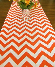Orange CHEVRON TABLE RUNNER 13x84 Orange Table By SayItWithPillows, $29.95