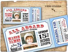 Train invitation - Vintage Train Birthday invite -  Train Ticket Birthday Party Invitation-  DIY printable invitation on Etsy, $20.00