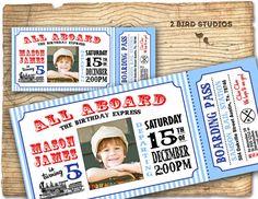Train invitation - Vintage Train Birthday invite -  Train Ticket Birthday Party Invitation-  DIY printable invitation on Etsy, $20.00