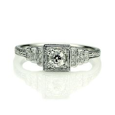 Replica Art Deco Engagement ring set with a vintage diamond - 1285-09