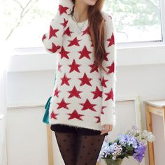 Price:$31.99 Color: White Material: Mohair Sweet Cute Red Star White Mohair Sweater