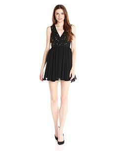 BCBGeneration Womens Binded Mesh Sequin Dress Black 4 * To view further for this item, visit the image link.