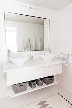 beachy bathroom at villa palmier / sfgirlbybay La Croix Valmer, Enjoy The Ride, Simple Bathroom, White Bathroom, Bathroom Tiling, Bathroom Inspo, Design Bathroom, Bathroom Renovations, Bathroom Ideas