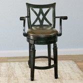 "Woodgrove 29"" Wooden Swivel Bar Stool With Cushion"
