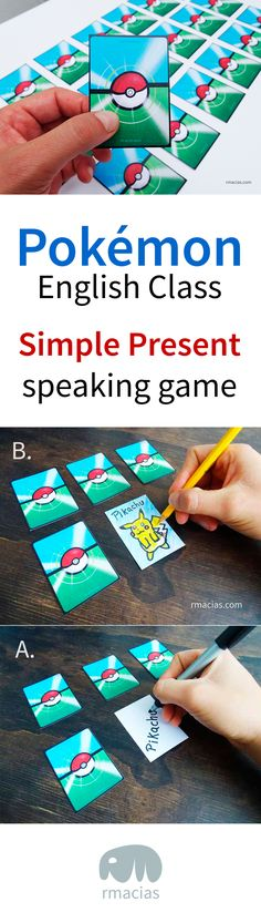 "Pokémon Classroom Game for Teaching English Simple Present to Kids (ESL Speaking Game Idea) - An English speaking game where the kids become Pokémon Go trainers and ""battle"" each other using the simple present tense (printables of cards and prizes included)."