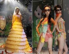 These crazy colorful dresses and clothes are made entirely out of condoms! They are part of a runway show of the China Reproductive Health New Technologies and Products Expo. (Link)