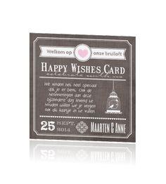 Happy Wishes Cards for a special guestbook. Alternatief receptieboek met trendy ontwerp en vragen.