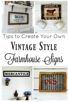Create your own vintage style farmhouse sign on wood, metal and glass with these five tips and project ideas to get you started!