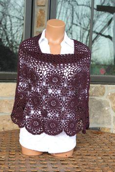 Wine Crochet Poncho-Capelet. via Etsy.