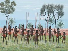 Dick (Goobalatheldin) Roughsey Australia (Aboriginal): The Coming of the First Missionary. (SMH @ people let into the country to spread evil religions. Why couldn't they just yell out Go Back To Where You Came From) Aboriginal History, Aboriginal Culture, Water People, Close My Eyes, Australian Art, Salt And Water, Ancient Art, Prehistoric, We The People