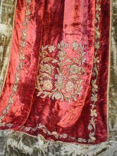 Antique Velvet Petit Point Chateau Drapery Draperies - Home Decoratings