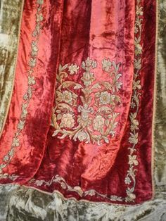 Antique Velvet Petit Point Chateau Drapery Draperies