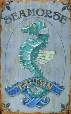 "Inspired by weathered signs in old-time seaside resorts, ""Seahorse Tavern"" Wood Wall Art features a nostalgic advertisement printed directly on a distressed wood panel. The knots and imperfections in the wood add one-of-a-kind character. Beach Cottage Style, Beach Cottage Decor, Coastal Cottage, Coastal Style, Coastal Decor, Coastal Living, Coastal Bedrooms, Cottage Ideas, Cottage Chic"