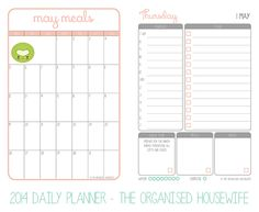 {The Organised Housewife} 2014 Daily Planner pages 1