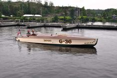 "Mark Mason points ""Impshi"" – a very cool 1920s George Crouch designed racer reproduction, up lake."