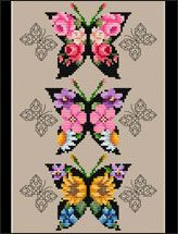 Floral and blackwork butterflies make a brilliant statement in color. Stitch the dramatic collage, an individual butterfly, or a bookmark (chart included).
