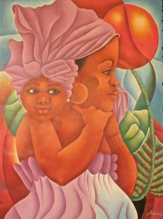 This painting depicts the connection between a mother and daughter. As the mother goes about her day she can't help but think about her daughter and she carries her daughter symbolically with her throughout the day.     http://www.artsumo.com/Haiti/In-My-Thoughts