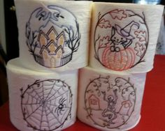 Halloween embroidered toilet paper