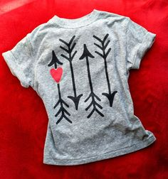 Shot Through the Heart: Valentine Stenciled T-Shirt Free template and tutorial from smallfriendly.com
