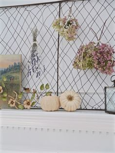 Chateau Chic - Using a vintage screen as a backdrop on the Fall Mantel Fall Vignettes, Autumn Display, Funky Junk, Repurposing, Patio Ideas, Dried Flowers, Home Remodeling, Decorative Items, Fall Decor