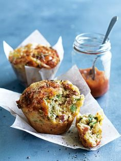 tomato relish, ham and cheddar muffins