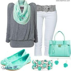 Womens Fashion love the grey and turquoise