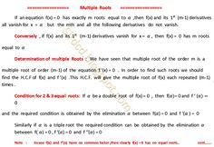 Applied Mathematics: Multiple Roots