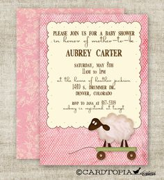 LAMB BABY SHOWER Invitations Digital Printable Personalized Vintage Shabby Chic Girl Pink Brown Polka Dot